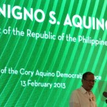 President Aquino unveils Cory Aquino Democratic Space marker at campus of De La Salle University in Manila.