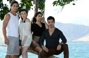 """Just a little over a month since it aired, ABS-CBN 's """"Apoy Sa Dagat"""" sizzles in national and rural ratings.  From left, Piolo Pascual, Angelica Panganiban, Angel Aquino and Diether Ocampo. It is shown worldwide  only on TFC. (ABS-CBN)"""