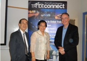 Con. Gen. Barber De La Vega with Port of Los Angeles officials, Mr. Jim MacLellan, Director of Trade Development (right) and Mr. Norman Arikawa, Assistant Director of Trade Development (left).