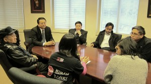 DIALOGUE. Officials of the Philippine Embassy in Washington, D.C. and leaders of the Justice for Grand Isle Shipyard Filipino Workers Campaign discuss the situation of Filipino offshore oil workers in Louisiana during a dialogue on 18 March 2013. In photo are First Secretary and Consul Elmer Cato, Welfare Officer Saul de Vries and Assistant Labor Officer Oliver Flores with Dante Simbulan and Josef Cadgugay of the Katarungan Center for Peace, Justice and Human Rights in the Philippines and Katrina Abarcar and Ann Beryl Corotan of Philippine Forum and the National Alliance for Filipino Concerns. (Philippine Embassy Photo by Christine Rubio)