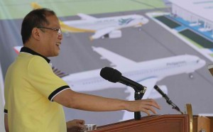 """President Benigno S. Aquino III delivers his speech during the ceremonial groundbreaking of the Roxas City Airport Development Project at the Roxas City Airport in Capiz on Wednesday (April 10). The project aims to shore up the government's goal to have at least 10 million tourists in 2016, and in recognition of Roxas City as the country's """"seafood capital"""" where an increasing number of local and foreign tourists are expected to visit. (MNS photo)"""