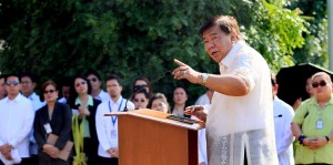 """CELEBRATING THE SENATE'S 97th ANNIVERSARY. Senate President Franklin M. Drilon addresses Senate officials and employees during the Senate's flag raising ceremony Monday, October 21. Drilon took the opportunity to thank everyone for what he calls a """"selfless act"""" in deciding to forego plans to celebrate the annual Christmas Party in favor of donating the funds to the victims of recent calamities that struck Visayas and Mindanao. The Senate, which is also celebrating its 97th Anniversary, has also decided to allocate the budget for the anniversary to the victims of the recent 7.2 magnitude earthquake that hit Bohol and Cebu. (MNS photo)"""