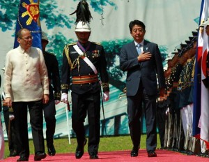 President Benigno S. Aquino III and His Excellency Shinzo Abe, Prime Minister of Japan, review the honor guards during the Arrival Ceremony at the Malacañan Palace Grounds for his Official Visit to the Republic of the Philippines on Saturday (July 27, 2013). The visit of Prime Minister Abe will further advance the Strategic Partnership between the Philippines and Japan. The last time that the prime minister of Japan visited the Philippines was in December 2006 when Prime Minister Abe visited Manila during his first term as the head of the Japanese Government. Japan is one of only two strategic partners of the Philippines. In 2012, Japan was the Philippines' number one trade partner and provider of official development assistance as well as the second major source of approved investments and third source of tourist arrivals. (MNS photo)