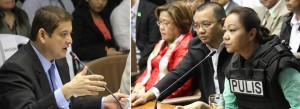 Senator Teofisto Guingona III, chairman of the Senate Blue Ribbon Committee, poses questions to Janet Lim-Napoles, alleged pork barrel scam mastermind during the hearing on Thursday (Nov. 7, 2013) at the Senate building in Pasay City. (MNS photo)