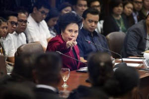 Senator Miriam Defensor-Santiago attends the Blue Ribbon Committee hearing of the P10 billion Priority Development Assistance Fund (PDAF) scam Thursday, November 7. Santiago reminded Napoles that she cannot just invoke her right against self-incrimination