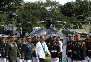"""President Benigno S. Aquino III, accompanied by Armed Forces of the Philippines (AFP) Chief of Staff General Emmanuel Bautista, inspects the troops during the 78th AFP Founding Anniversary at the AFP General Headquarters Grandstand in Camp General Emilio Aguinaldo, Quezon City on Friday (December 20, 2013). This year's theme is: """"Tagumpay Noon, Bayanihan Ngayon, Karangalan Nating Lahat Bukas"""". (Photo by: Benhur Arcayan / Malacañang Photo Bureau)"""