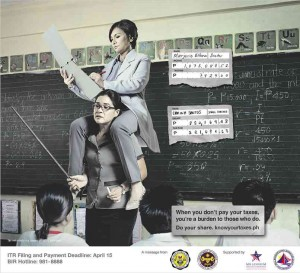 The government ads, which ran in Manila newspapers on Sunday, showed a female teacher lecturing in front of her class with a woman in a medical suit holding a doctor's clipboard sitting on her shoulders.