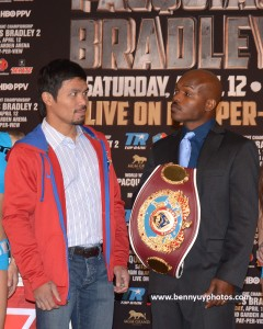 """Freddie Roach: """"We are training for big game in this fight. Manny (Pacquiao, left) knows he is going to have to hunt Bradley down and close the show this time. The first fight with (Timothy) Bradley was so easy for Manny that after six rounds he just took it easy on him.  Not this time.  Our Mantra is 'Close the show.  No mercy."""""""