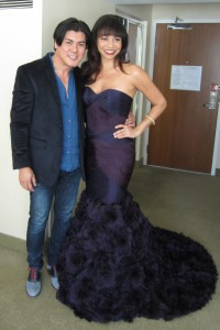 Gloria Reuben with Oliver Tolentino in his gown before the 2013 OSCARS (pic courtesy of designer)