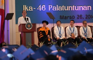 President Benigno S. Aquino III delivers his speech during the 46th Commencement Exercises and 50th Founding Anniversary of the Philippine Science High School (PSHS) at the HS Main Campus, PSHS Multi-Purpose Gymnasium in Agham Road, Diliman, Quezon City on Wednesday (March 26, 2014).