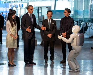 President Barack Obama interacts with a robot during a tour at the National Museum of Emerging Science and Innovation (Miraikan), in Tokyo, Japan, April 24, 2014. (Official White House Photo by Pete Souza)