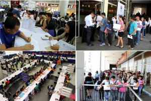 The Department of Labor and Employment (DOLE), in partnership with SM Malls conduct nationwide jobs fair in celebration of Labor Day (May 1). Over 310,000 jobs are offered to qualified applicants. Photo shows applicants line up at Mall Event Center of SM Manila. (MNS photo)