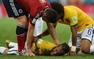Brazilian footballer Neymar is out of the World Cup after suffering a fractured vertebra during the quarter final against Colombia. ©AFP PHOTO / EITAN ABRAMOVICH