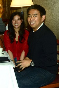 Makati Mayor Jejomar Erwin Binay seen here with a guest at Noypitz Bar & Grill in Glendale, California in 2011 during a fundraising concert organized by members of Filipino-American media for typhoon Sendong victims. Photo: Benny Uy