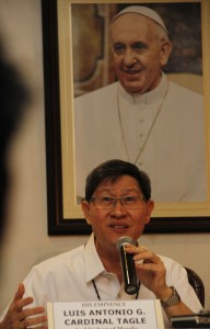 Manila Archbishop Antonio Luis G. Tagle announces the visit of Pope Francis to the Philippines on January 15-19 next year during a press conference on Tuesday (July 29, 2014) in Intramuros, Manila. (MNS photo)