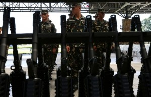 The ceremonial distribution of assault rifles to the Philippine Army and Philippine Navy Marine troops was held at the Armed Forces of the Philippines General Headquarters canopy at Camp General Emilio Aguinaldo in Quezon City on Thursday (August 14). One of the major programs of the AFP Modernization is to upgrade the mission-essential capability requirements of the AFP in terms of firepower for the ground troops. The whole project will be delivered within the year and will be shipped in two batches. (MNS photo)