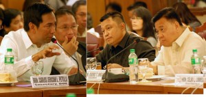 Department of Trade and Industry (DTI) Secretary Gregory L. Domingo (left) and (ACT Teachers Party-List)Rep. Antonio L. Tinio, discuss various issues like high prices of garlic with other products during the hearing of the proposed 2015 budget of the Department of Trade and Industry (DTI) on Wednesday (September 3, 2014) at the House of Representatives in Batasan Hills, Quezon City. (MNS photo)