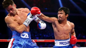 Manny Pacquiao connects with the right against Chris Algieri during their World Boxing Organization (WBO) 12-round welterweight title fight at the Venetian Macau.  (MNS photo)