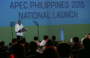 President Benigno S. Aquino III delivers his speech during the Asia-Pacific Economic Cooperation (APEC) 2015 kick-off ceremony at The Eye Ballroom of the Green Sun Hotel in Pasong Tamo Extension, Makati City on Monday night (December 01). (MNS photo)