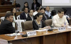 -- Senator Grace Poe, chair of the Public Order and Dangerous Drugs committee, continues the inquiry on the Mamasapano incident which led to the death of 44 Philippine National Police-Special Action Force (PNP-SAF) members last January. Also present during the hearing are Senate President Franklin M. Drilon and Senator TG Guingona.  (MNS photo)
