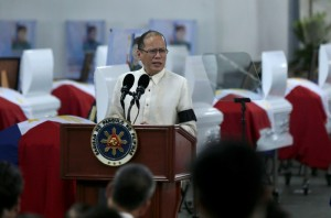 President Benigno S. Aquino III delivers his message during the Necrological Service for the fallen Philippine National Police-Special Action Force (PNP-SAF) Troopers at the NCRPO Multi-Purpose Center of Camp Bagong Diwa in Bicutan, Taguig City on Friday (January 30). (MNS photo)