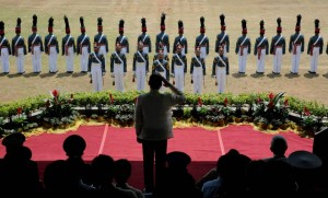 President Benigno S. Aquino III graces the 110th Commencement Exercises of Philippine Military Academy (PMA) Sundalong Isinilang na may Angking Galing at Lakas, Handang Ipaglaban ang Bayan (Sinaglahi) Class of 2015 at the Fajardo Grandstand, Borromeo Field, Fort General Gregorio del Pilar in Baguio City on Sunday (March 15, 2015). The PMA boast of a long and illustrious history of preparing only the best Filipino men and women for military service.  (MNS photo)