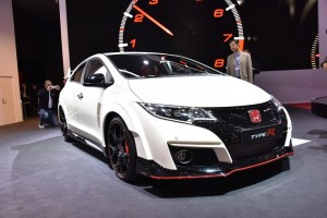 The Honda Civic Type R at the Geneva Motor Show. The hot hatchback produces 306bhp ©Newspress