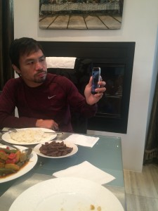 Manny Pacquiao talks to little Queenie on FaceTime. He was having breakfast after his morning workout while his fourth child talks to him about the Bible verse she learned.