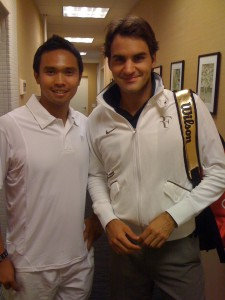 Dante Sta. Cruz, a former junior, division tennis star in the Philippines whose performance in the grand slam events in 1994 – 1996 earned him some offers to come to the United States, with his idol, Roger Federer.