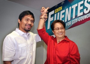 """""""The Winning Team"""" – World Champion Manny Pacquiao raises Edith's hand in full support of her candidacyfor a  Glendale City Council Candidate Edith Fuentes! (Photo: by Toto Mortel)."""