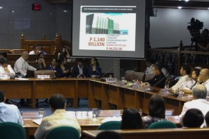 Members of the Senate Blue Ribbon Sub-Committee investigating the alleged overpricing of a 12-story building for the University of Makati's nursing school watch a presentation on Monday. The building's construction cost of P1.140 billion is alleged to be overpriced to benefit then mayor Jejomar Binay back in 2007. (MNS Photo)