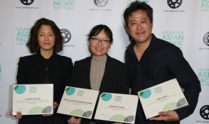 THE TEAM FROM ADVANTAGEOUS, WINNER OF MULTIPLE AWARDS AT THE 2015 LAAPFF, CELEBRATES ON CLOSING NIGHT AT THE DGA. FROM LEFT TO RIGHT:  ACTRESS JACQUELINE KIM; DIRECTOR JENNIFER PHANG; COMPOSER TIMO CHEN. (PHOTO courtesy of  STEVEN LAM)