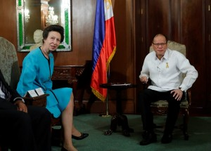 President Benigno S. Aquino III exchanges pleasantries with Her Royal Highness Princess Anne, the Princess Royal of the United Kingdom of Great Britain and Northern Ireland during the courtesy call at the Music Room of the Malacañan Palace on Tuesday (March 17, 2015). Her visit is in connection with her charity and various humanitarian works. She has been President of Save the Children for more than four decades and an active advocate of children's rights and protection. This is the second trip of Her Royal Highness to the Philippines. The first was in March 1999. The Princess Royal is the second child and only daughter of Queen Elizabeth II and The Duke of Edinburgh. Before receiving the title Princess Royal from her mother in June 1987, she was known as Princess Anne. The Princess Royal heads about 320 organizations. (MNS Photo)