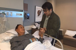 Senator Bong Revilla (right) visits his father, former senator Ramon Revilla, Sr., at the St. Luke's Hospital in Taguig City on Tuesday. Senator Revilla was given a furlough to visit his 88-year old father who was admitted to the hospital for pneumonia and dehydration since Saturday.(MNS Photo)