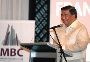 "CONTINUING REFORMS FOR 16th CONGRESS: Senate President Franklin Drilon tells businessmen during the annual meeting of the Makati Business Club (MBC) held at the Peninsula Manila in Makati City Thursday, August 6, 2015, that the Senate will continue to work on bills that will improve the economy, create a stable political environment and expand the distribution of social services. ""We shall continue in the last regular session of this Congress, and even beyond, the pursuit of good governance and the audacity to implement meaningful reforms, no matter how unpopular they may be,"" Drilon said. (MNS photo)"