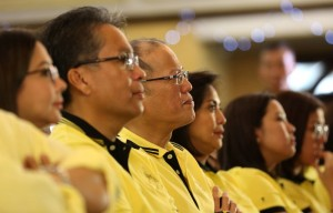 "Liberal Party chairman President Benigno S. Aquino III attends the ""Daang Matuwid: To Be Continued…"" of the ruling Liberal Party (LP) at the Corazon C. Aquino Kalayaan Hall of the Club Filipino in San Juan City on Monday (October 05, 2015). Also in photo are LP Presidential Candidate former DILG Secretary Manuel Roxas II and wife Korina Sanchez-Roxas; LP Vice Presidential Candidate Camarines Sur 3rd District Representative Maria Leonor Robredo and daughters Jessica Marie and Janine Patricia Robredo. (MNS photo)"