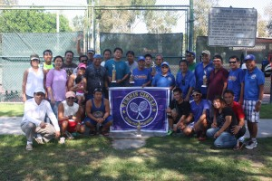 Buena Park Tennis Circle: Members, families, and friends of Buena Park celebrate the conclusion of a tennis tournament and their expanded membership at the Boisseranc Park in Buena Park.  The winners include: Joal Oblanca, Jun Talaid (champion), Tito Llido (1st runner-up), Geovany Manulat, Rolando Acosta, Tony Nguyen and Sam Padroi (2nd runner up). The tournament coordinators included Cesar Reamico, Rudy Malilim and Rex Seldura.