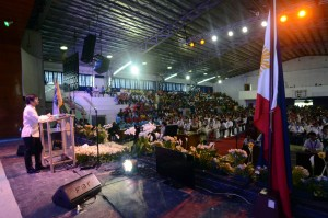 """Congressman Pacquiao has """"Bigger dreams for our people"""" while in ALABEL, Sarangani (October 7, 2015) - """"In the coming days, I will be embracing new levels of responsibility,"""" says Manny Pacquiao, """"I will be confronting tougher challenges. Yes, I will be dreaming bigger dreams for our people and for our nation."""" This statement stirs the crowd to applaud lone district Congressman Manny Pacquiao in his State of the District Address at the Capitol gym Monday, October 5. (Jake Narte/SARANGANI INFORMATION OFFICE)"""