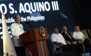 """President Benigno S. Aquino III delivers his speech during the 17th Asia Pacific Retailers Convention and Exhibit at the SMX Convention Center, Mall of Asia, Pasay City on Thursday (October 29). This year's theme: """"Asia Fast Forward"""". Also in photo are Department of Trade and Industry Secretary Gregory Domingo, Federation of Asia Pacific Retailers Association Chairman Melmet T. Nane and Cabinet Secretary Jose Rene Almendras. (MNS photo)"""
