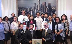 Right photo above shows (from left) Councilmember Jose Huizar (Council District 14th), Consul General Herrera-Lim), Councilmember Mitch O'Farrell (Council District 13), LAFACE President Linda Granados and Joel Jacinto.