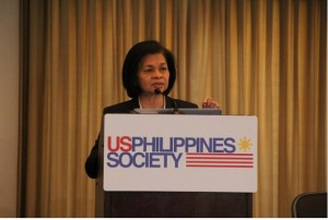 Keynote speaker Laura Q. Del Rosario, Philippine Foreign Affairs Undersecretary for International Economic Relations and Chair for the Senior Officials' Meeting of APEC 2015, at the APEC Philippines 2015 symposium on 30 October 2015 at the Ronald Reagan Building and International Trade Center.