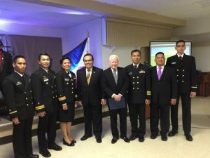 """Ambassador Jose L. Cuisia, Jr., Col. Orlando M. Suarez (2nd from right) of the Defense and Armed Forces Affairs Office, Philippine Embassy in Washington, D.C., and Consul General Mario L. De Leon, Jr. (3rd from left), Philippine Consulate General in New York, with Filipino-American students of the US Naval War College during """"Philippine Night"""" at Newport, Rhode Island on 26 October 2015. Photo courtesy of Col. Orlando M. Suarez."""