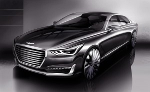 Hyundai Motor Unveils Rendering of New G90: The new flaghsip will make its offical debut in December. ©Hyundai