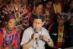 Manila Archbishop Luis Antonio G. Tagle calls on the government to let peace exist and to pull-out military its forces in the communities of Lumad folks, including the disbanding and disarming of paramilitary groups.
