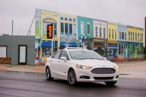 Ford tests autonomous vehicle at MCity Ford started testing its self-driving fleet at the special facility in November. ©Ford