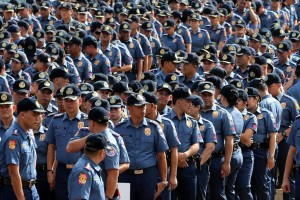 Hundreds of Philippine National Police-Reactionary Standby Support Force (PNP-RSSF) personnel assemble at the PNP headquarters on Wednesday. PNP accounted for its personnel who will be deployed around the country during the synchronized national and local elections on May 9.(MNS photo)