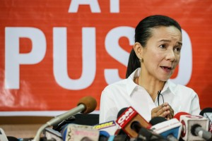 Senator Grace Poe talks to the media as she concedes to front runner Rodrigo Duterte in the presidential elections on Monday. Poe said she has accepted the electorate's decision and greeted Duterte, who is leading the count by more than 5 million votes from the next candidate with over half of the votes tallied.(MNS photo)