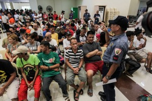 More than 160 self-confessed drug addicts surrender to authorities at the San Juan City Hall, Monday. City officials directed local barangay officials to ask drug users and pushers in their respective jurisdiction to voluntarily surrender and undergo drug rehabilitation. (MNS photo)
