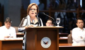 "DE LIMA'S PRIVILEGE SPEECH: Sen. Leila M. De Lima in a privilege speech decried the latest spate of killings targeting alleged drug pushers and drug personalities, which she says disregards a person's basic right to due process guaranteed to all under the Constitution. ""We have to continue opposing the murder of the innocents as well as that of the suspects. We must call for the accountability of state actors responsible for this terrifying trend in law enforcement, and the investigation of killings perpetrated by the vigilante assassins,"" De Lima said. (MNS photo)"