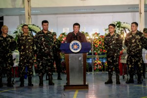 President Rodrigo Roa Duterte reveals the names of several local government officials, members of the judiciary, and military and police personnel who are allegedly involved in illegal drug trade during his visit at the Naval Station Felix Apolinario (NFSA) in Panacan, Davao City on August 7.(MNS photo)